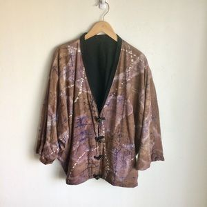 Tie Dye Jacket Brown Blue Metal Buttons Large